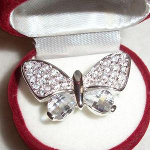 Sterling Silver Swarovski Crystals BUTTERFLY Ring